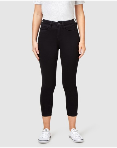 Jeanswest Kia Mid Waisted Skinny Capris Black