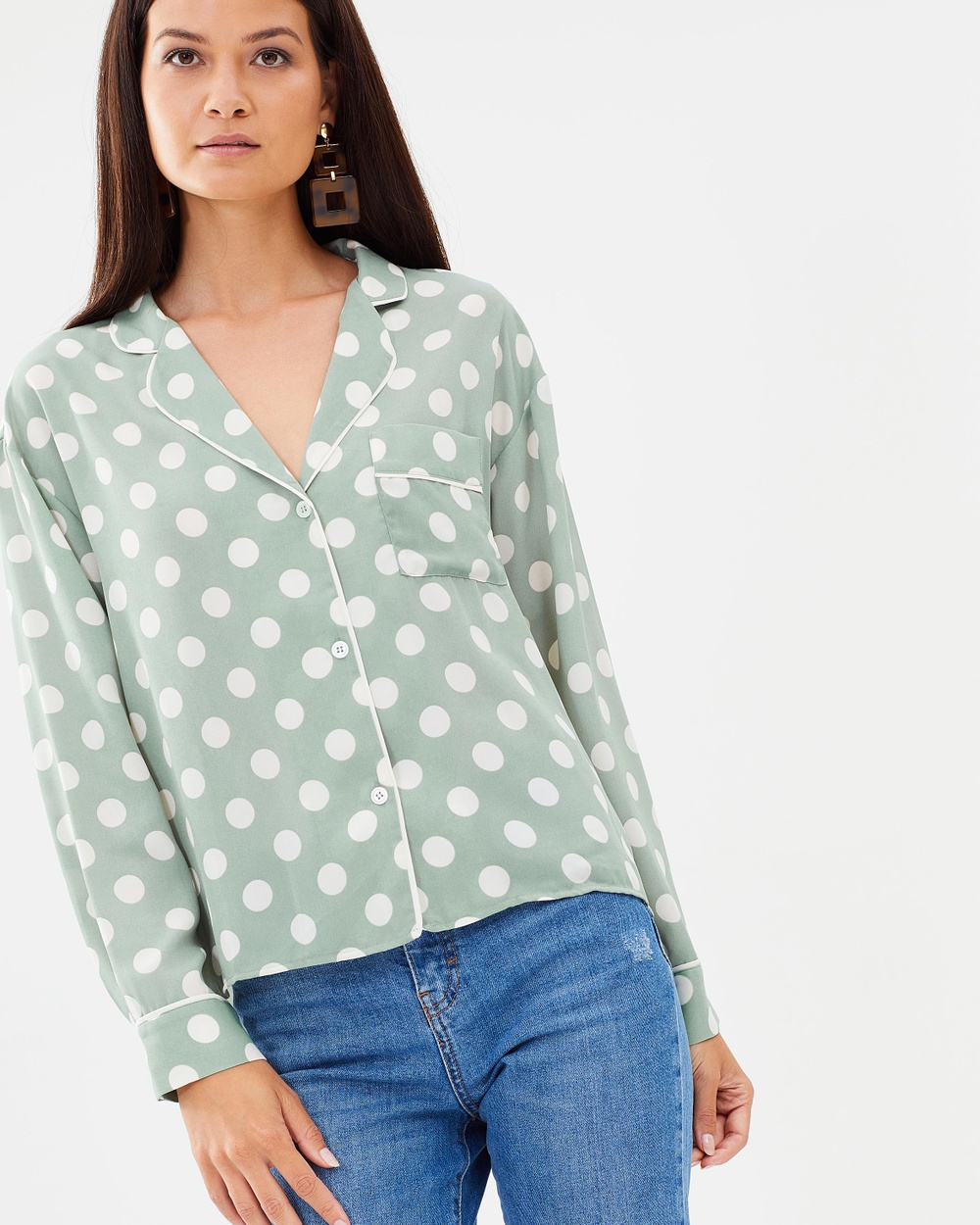 M.N.G Dots Blouse Tops Verde Dots Blouse