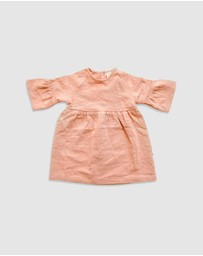 Goldie + Ace - Luella Linen Long Sleeve Dress - Babies