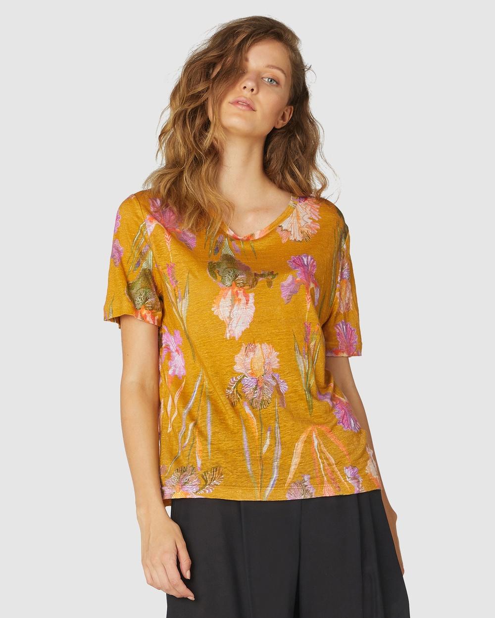 Gorman - Iris Gold Linen Tee - T-Shirts & Singlets (Gold) Iris Gold Linen Tee
