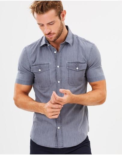 Cerruti 1881 Short Sleeve Casual Shirt Neutral Grey