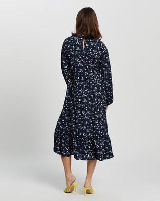 Missguided Ruffle Hem Midi Smock LS Ditsy Dress - Dresses (Navy)
