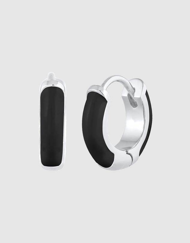 Women Earrings Creoles Classic with Black Enamel 925 Silver