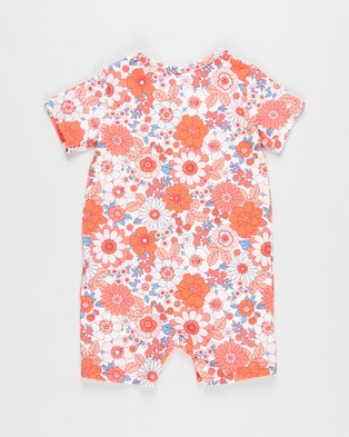 Cotton On Baby The Short Sleeve Romper   Babies - Bodysuits (Vanilla & Smoked Salmon Retro Floral)
