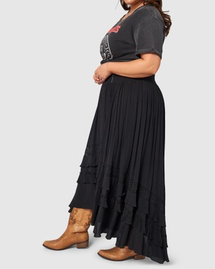 The Poetic Gypsy Frontier Maxi Skirt - Skirts (BLACK)