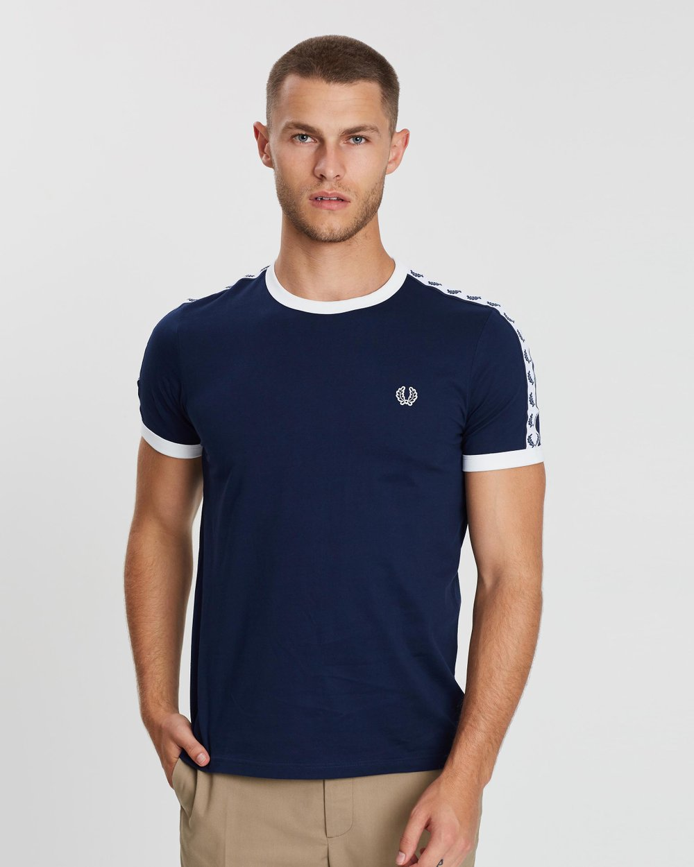 fc65b3bbccff Taped Ringer T-Shirt by Fred Perry Online | THE ICONIC | Australia