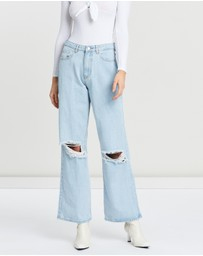 Missguided - Distress Full-Length Straight Jeans