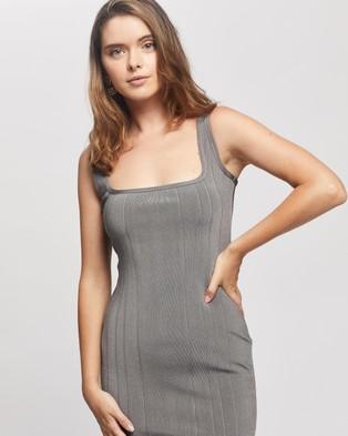 Missguided Petite Petite Bandage Scoop Front Midi Dress - Bodycon Dresses (Grey)