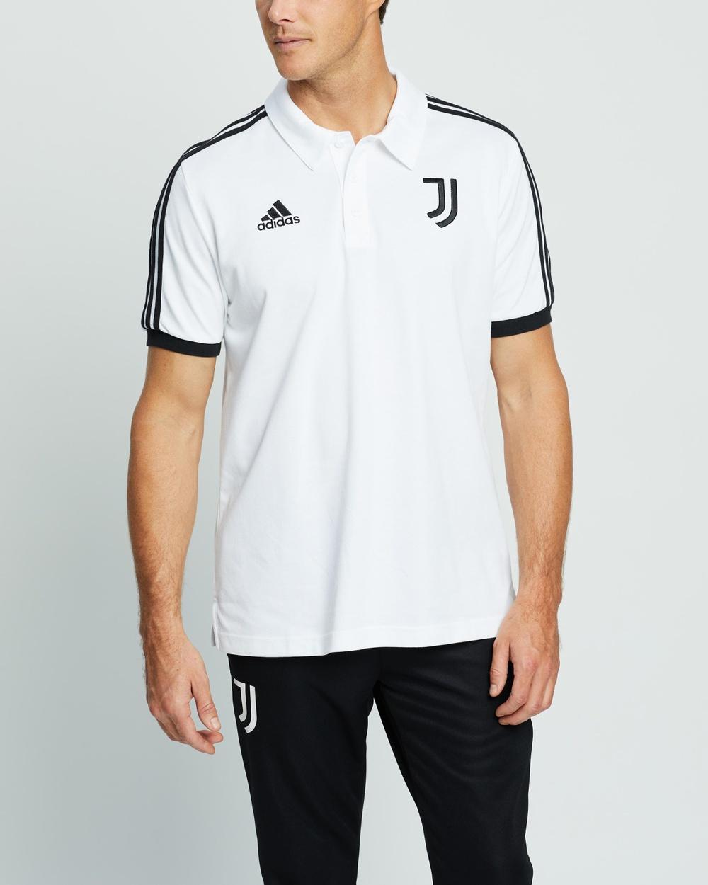 adidas Performance Juve 3 Stripes Polo Shirts & Polos White Black 3-Stripes