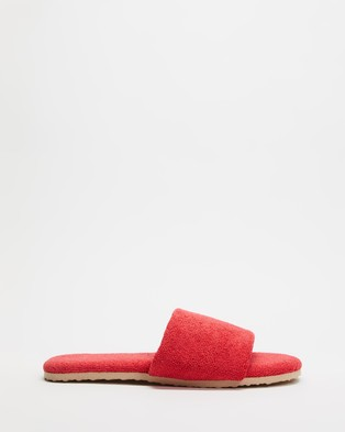 Staple Superior Casablanca Terry Towelling Slides - Sandals (Red)