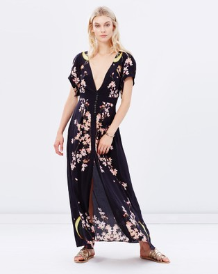 By Weave – Yellow Moon Maxi Dress Blossom Print & Black