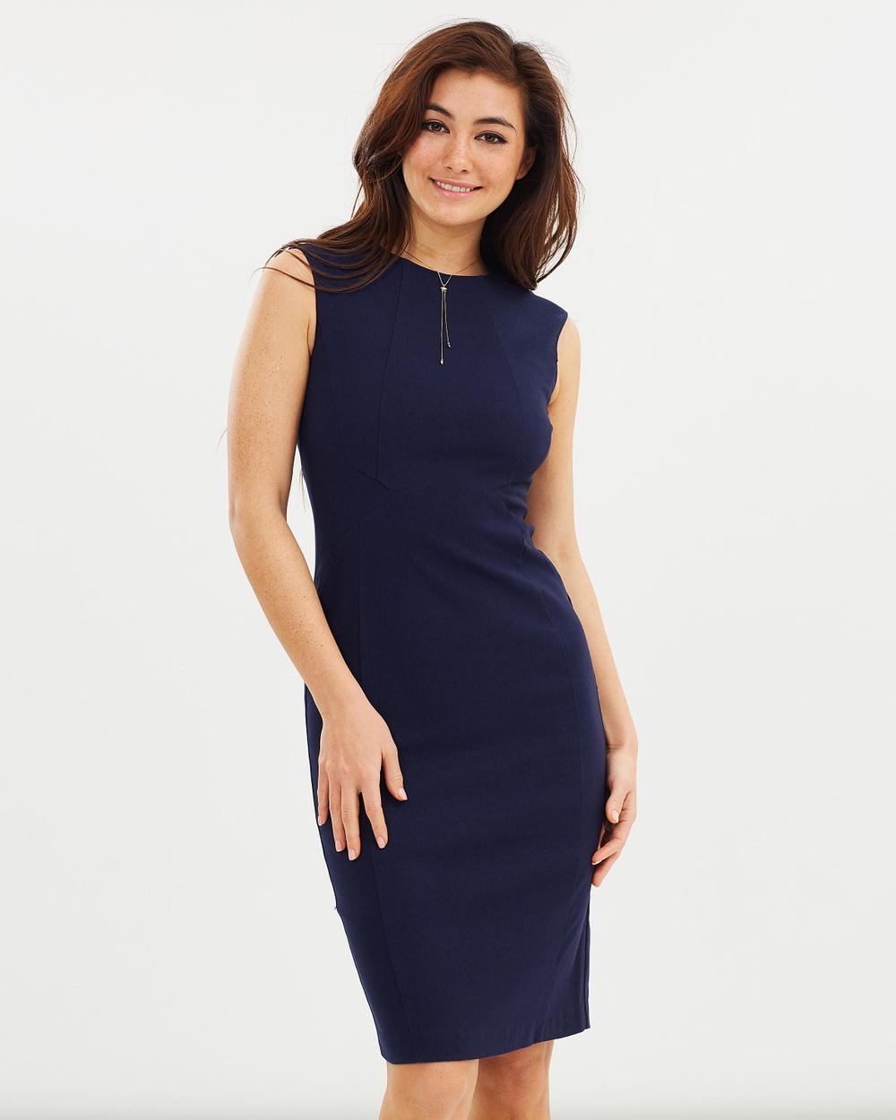 Dorothy Perkins Bengaline Arrow Waist Dress Dresses Navy Blue Bengaline Arrow Waist Dress