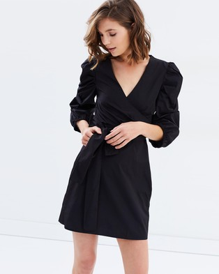 Buy Miss Selfridge - Cross Front Hitch Sleeve Poplin Dress Black -  shop Miss Selfridge dresses online
