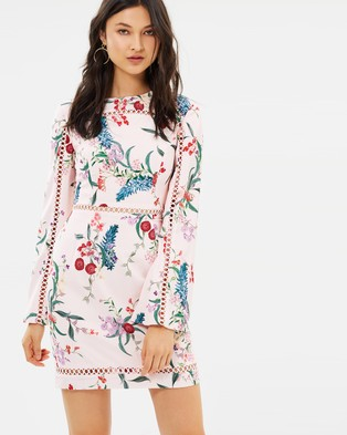 Keepsake the Label – Indulge Long Sleeved Mini Dress Blush Botanic Floral