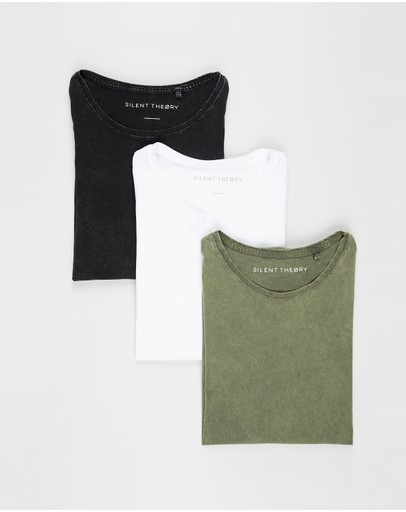 Silent Theory Acid Tail Tee 3-pack Washed Black White & Militant