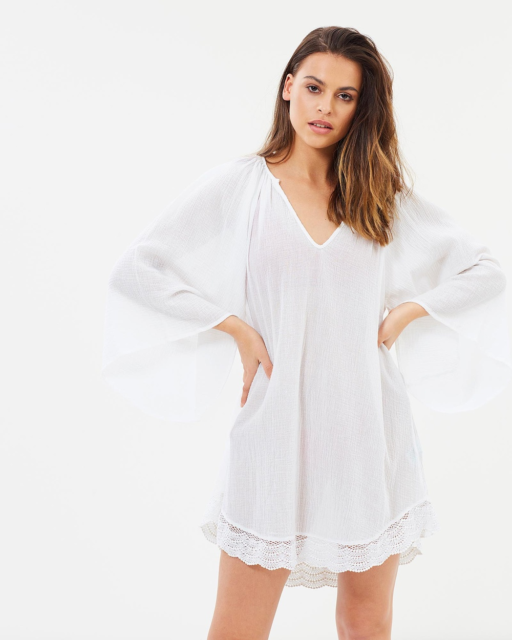 Rusty Kirra Long Sleeve Tunic Dresses White Kirra Long Sleeve Tunic