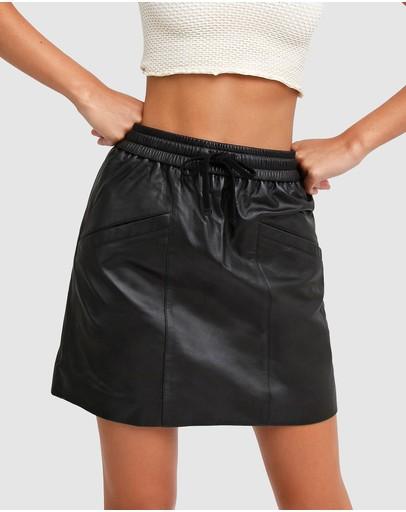 Belle & Bloom Midnight Magic Leather Mini Skirt Black