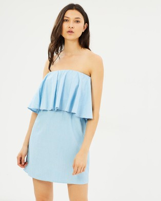 Glamorous – Chambray Off Shoulder Dress Light Blue Chambray