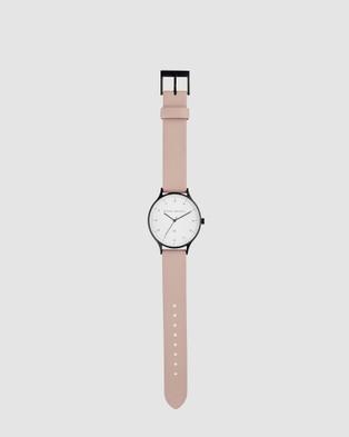 Status Anxiety Inertia - Watches (matte black / white face / blush strap)