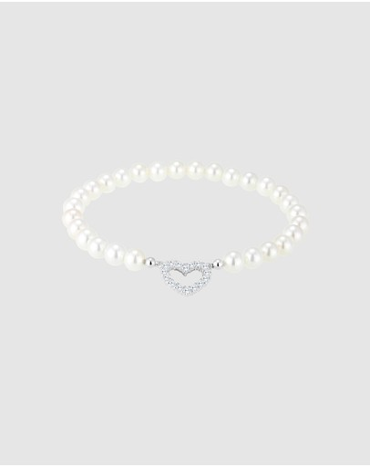 Elli Jewelry Bracelet Heart Shell Pearl With Zirconia Crystals In 925 Sterling Silver White