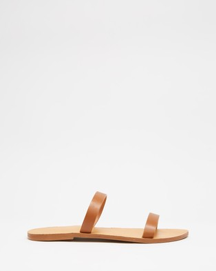 Atmos&Here Rebecca Leather Slides - Shoes (Tan Leather)