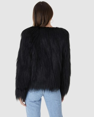 Everly Collective Marmont Faux Fur Jacket - Coats & Jackets (Black)