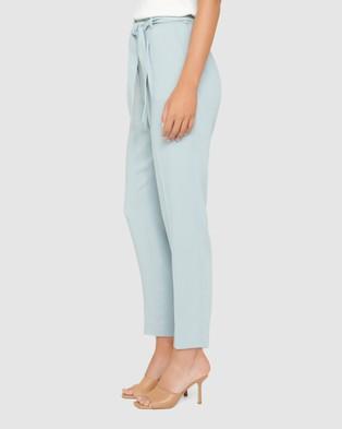 Forever New Sadie Tie Waist Slim Pants - Pants (Soft Green)