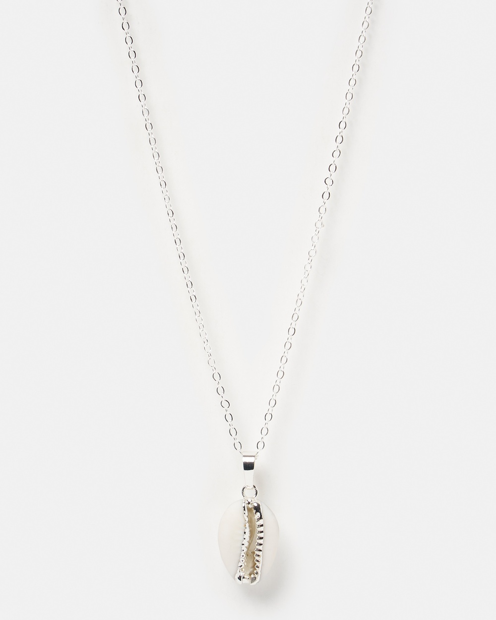 Miz Casa and Co Cowrie Shell Necklace Jewellery Silver White