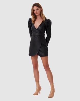 TORANNCE Farrah Leather Wrap Dress - Dresses (Black)