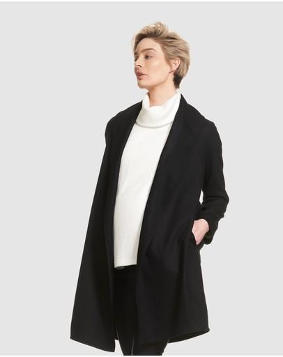 Soon Maternity Ivy Draped Coat Black