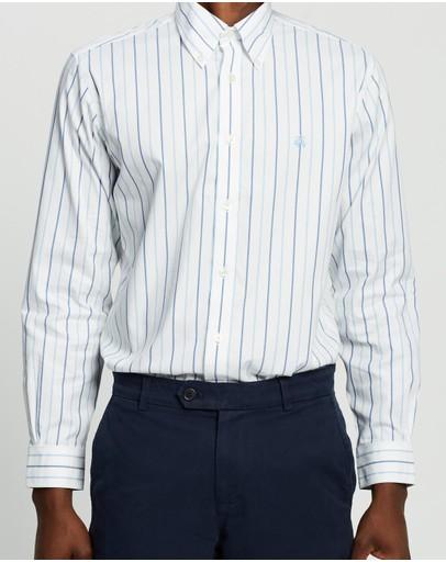 Brooks Brothers Regent Fit Stretch Pinpoint Shirt Stripe Blue