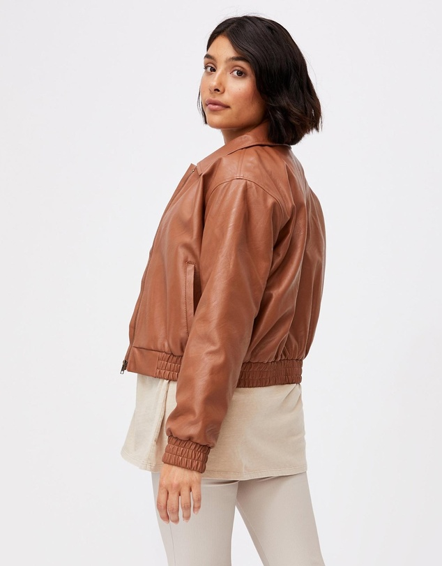 Women Vegan Leather Quilted Bomber