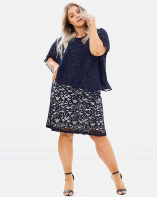 EVANS – Lace Dress with Chiffon Overlay Navy & Cream