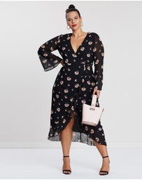 Missguided Curve - Floral Ruffle Hem Midi Dress
