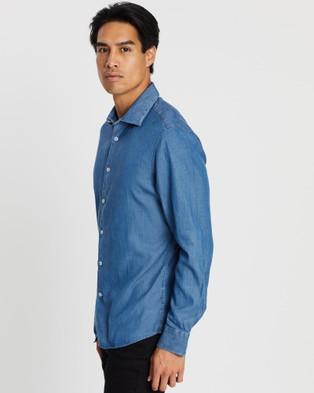 SABA Max Chambray Long Sleeve Slim Shirt - Casual shirts (blue)