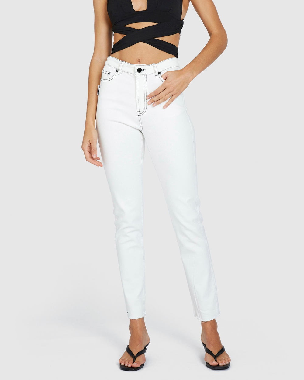 BY JOHNNY. Johnny Jeans High-Waisted White & Black