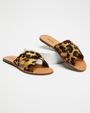 Anacapri Cross Leather - Sandals (Cheetah)