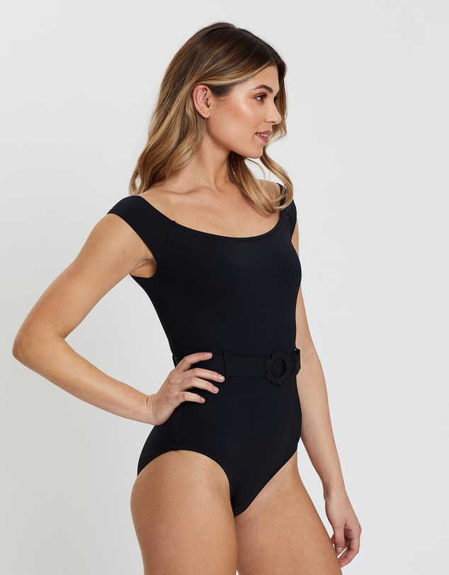 Kate Spade - Daisy Buckle Cap Sleeve One-Piece Swimsuit
