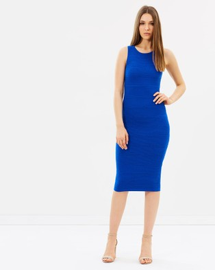 Karen Millen – Textured Knit Mini Dress – Bodycon Dresses (Blue)