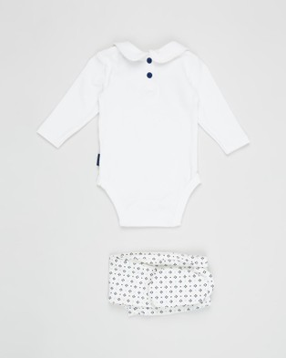 Pappe 2 Piece Bowhill Bodysuit & Footed Leggings   Babies - Longsleeve Rompers (White with Navy & Mint)