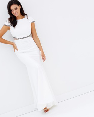 Bariano – Gertrude Cap Sleeve Gown White & Silver
