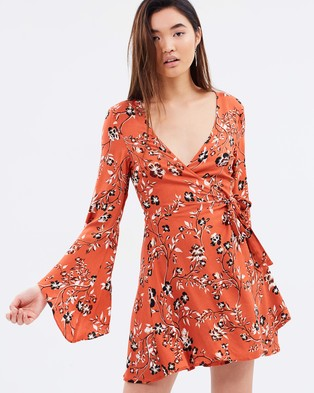 MINKPINK – Rust Roses Wrap Dress