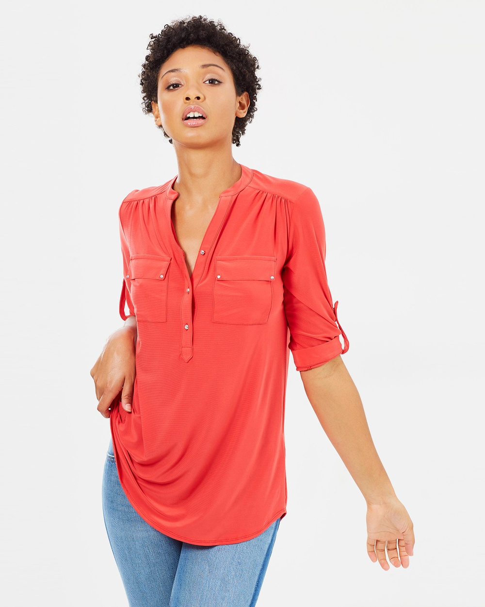Wallis Longline Ity Button Shirt Tops Red Longline Ity Button Shirt