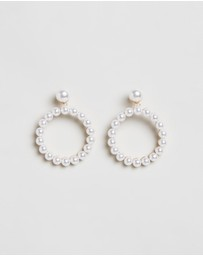 Johnny Loves Rosie - Pearl Hoop Earrings