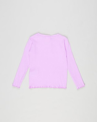 Cotton On Kids - Lucy Long Sleeve Henley Teens Tops (Pale Violet) Kids-Teens