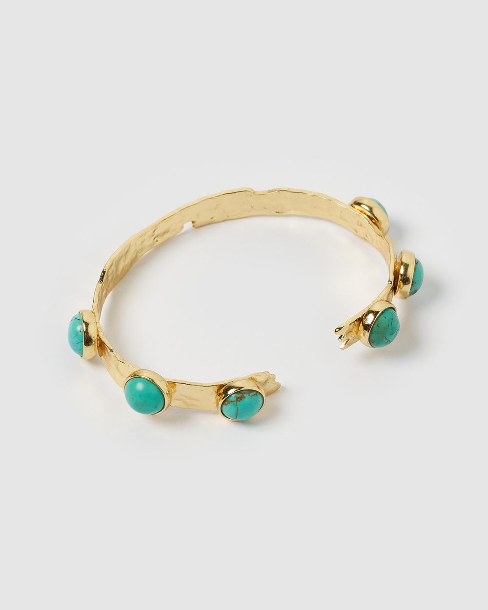 Miz Casa and Co Deja Cuff Jewellery Gold Turquoise