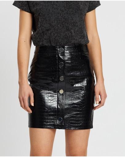 Allsaints Bela Skirt Croc Black