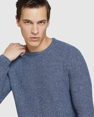 Oxford Billie Textured Crew Neck Knit - Jumpers & Cardigans (Blue)