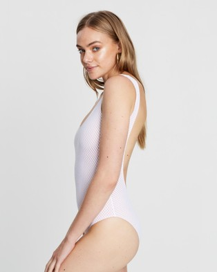 Cleonie Textured Hail Spot Maillot - One-Piece / Swimsuit (White)