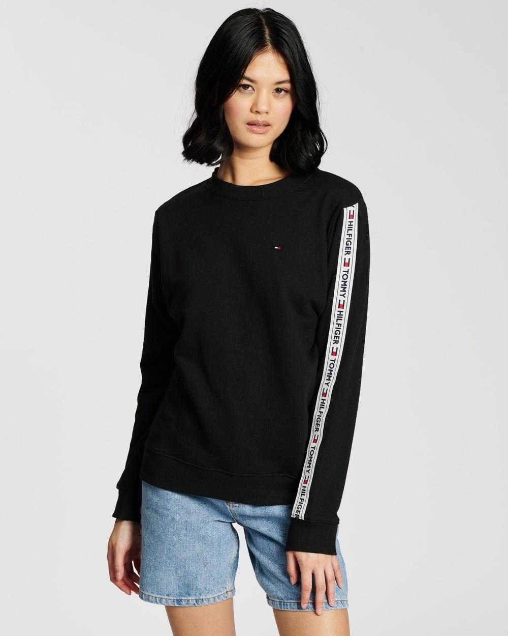 Tommy Hilfiger Logo Tape Sweatshirt Sweats PVH Black